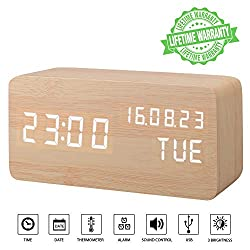 Desk Clock, Displays Time Date Week and Temperature, Cube Wood-Shaped Sound Control Desk Alarm Clock for Kid, Home, Office, Daily Life, Heavy Sleepers (Wood)