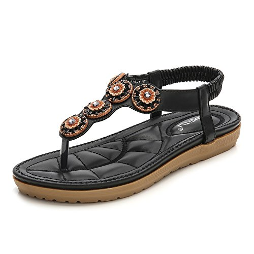 GESDY Women Bohemian Flat T-Strap Sandals Rhinestone Floral Thong Beach Shoes