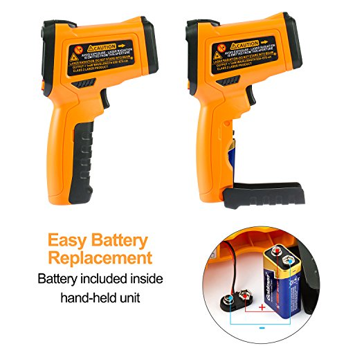 Infrared Thermometer AIDBUCKS PM6530B Digital Laser Non Contact Cooking IR Temperature Gun -58°F to 1022°F with Color Display 12 Points Aperture for Kitchen Food Meat BBQ Automotive and Industrial by AIDBUCKS (Image #7)