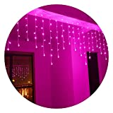 SDOUBLEM 4M 96 LEDs 8 Modes Curtain Window Decorative Room Patio Parties Rope String Wave Light (Pink)