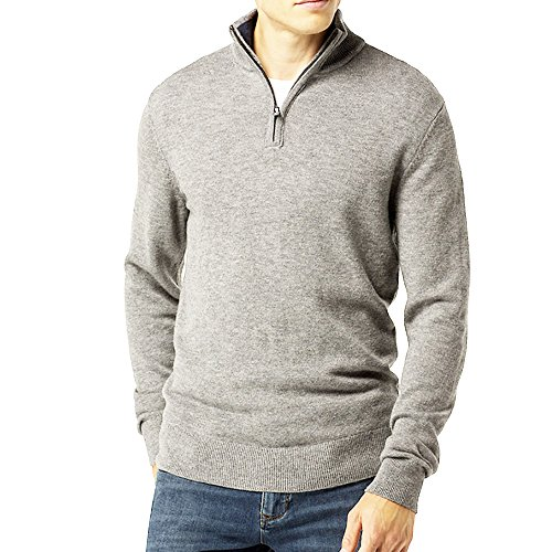 Just No Logo Men's Relaxed Fit Quarter Zip Sweater Pullover(Light Gray, L) Fit Pullover