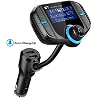 "Bluetooth FM Transmitter with Quick Charge 3.0, Wireless Car Radio Transmitter Kit with 1.7"" LED Display, Dual USB Ports, compatible with iPhone, Samsung, etc, Hands Free Kit"