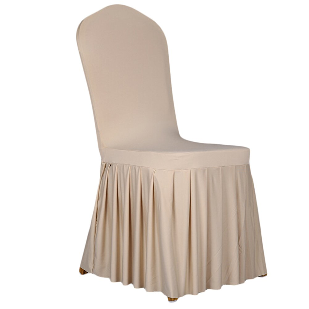 SoulFeel 1 x Long Stretch Spandex Dining Chair Cover Protectors, Super Fit Banquet Chair Seat Slipcovers for Hotel and Wedding Ceremony, Removable & Washable (Champagne) by SoulFeel (Image #1)