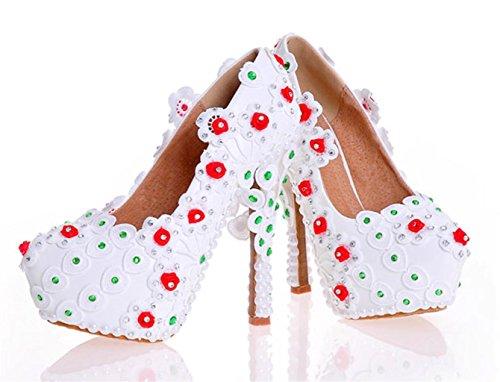 Blumen Zehe Geschlossene Schuhe Frauen Court Pumps Abend Plattform Heel High GüRtelschnalle Kitzen Satin Strass Hochzeit wqtR4xwU