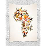 Ambesonne African Decorations Collection, Africa Travel Map Plan Traditional Objects Continental Ethnic Culture Arts Craft Print, Bedroom Living Room Dorm Wall Hanging Tapestry, Multi