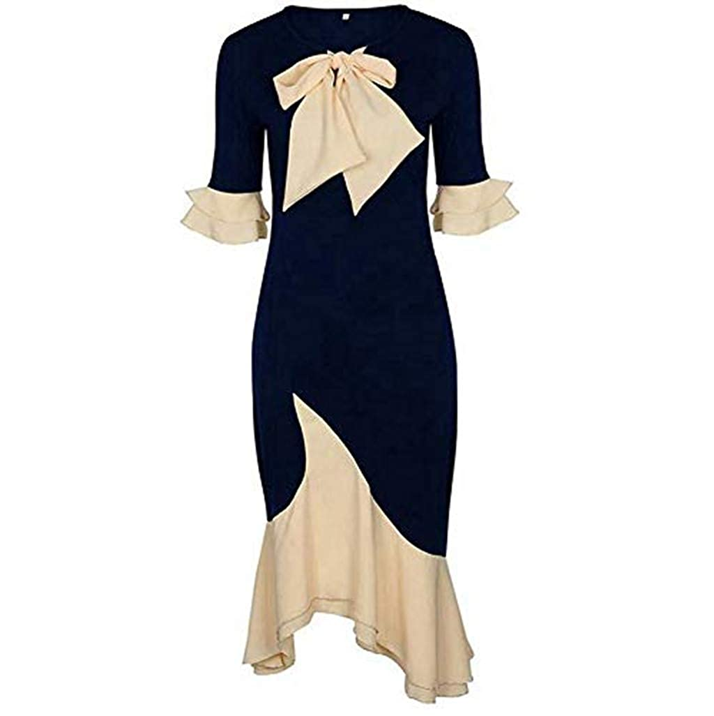 DEATU Womens Dresses Ladies Juniors Girls Bow tie Neck Irregular Hem Slim Half Sleeve Fashion Party Dress