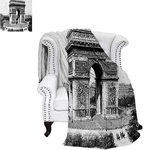 Custom Design Cozy Flannel Blanket Old Photo of Auguste Vitu Monument in Paris French Heritage Retro Picture Weave Pattern Blanket 80