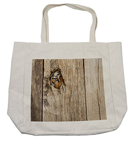 Ambesonne Safari Shopping Bag, Siberian Tiger Eye Looking Through Wooden Peep Hole in Spy Predator Big Cat Wild Print, Eco-Friendly Reusable Bag for Groceries Beach and More, 15.5
