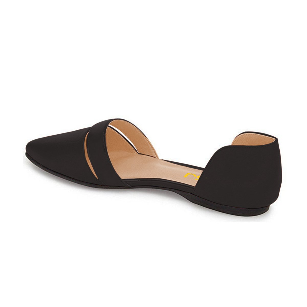 FSJ Women Cute D'Orsay Ballet Flats for Comfort Pointed Toe Size Low Heels Dress Shoes Size Toe 4-15 US B01GEGL7V4 11 B(M) US Black 62713c