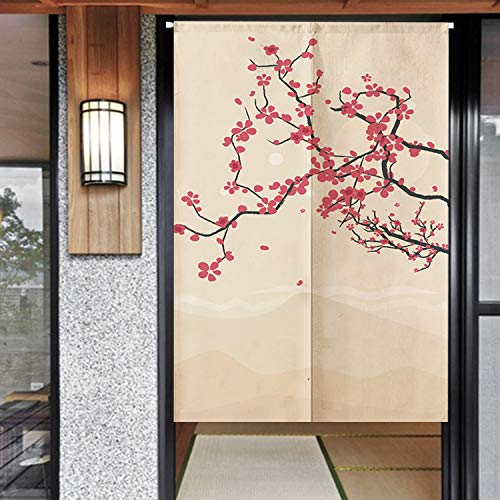 Spanker Beige and Red Chinese Artistic Style Plum Red Flower Painting Fengshui Door Curtain for Home Kitchen Door Decor Natural Cotton Linen 34x47 inches (Red Plum Linen)