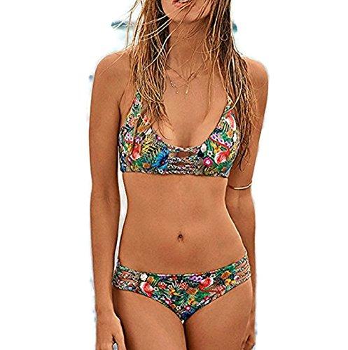 Hot Sale! Sexy Women Bandage Bikini Set Swimwear Push-Up Padded Bra Swimsuit Beachwear (Floral #1,