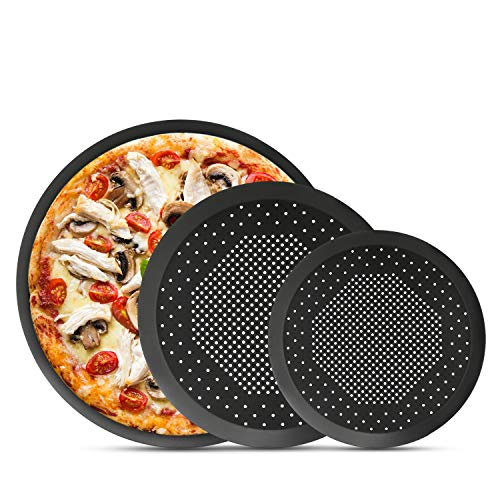 (Nonstick Pizza Pans, Segarty 3 Pack 8/9/10 inch Steel Pizza Pan with Holes, Round Pizza Baking Tray for Oven, Perforated Pizza Crisper Pan Kitchen Cooking Tools, Bakeware Set for Home & Restaurant )