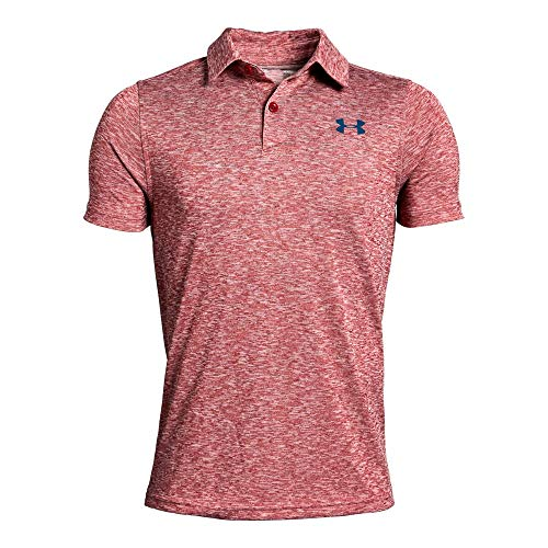 Under Armour Tour Tips Polo, Aruba Red Light Heather//Petrol B, Youth Large ()