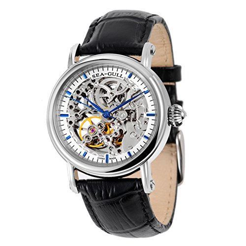 Sea-gull M182sk Men's Colorful Skeleton Dial Self Winding Leather Mechanical Wrist Watch