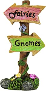 NW Wholesaler Fairy Garden Fairies & Gnomes Sign - Unique Fairy Garden Supplies for Fairy Gardens, Planters and Terrariums