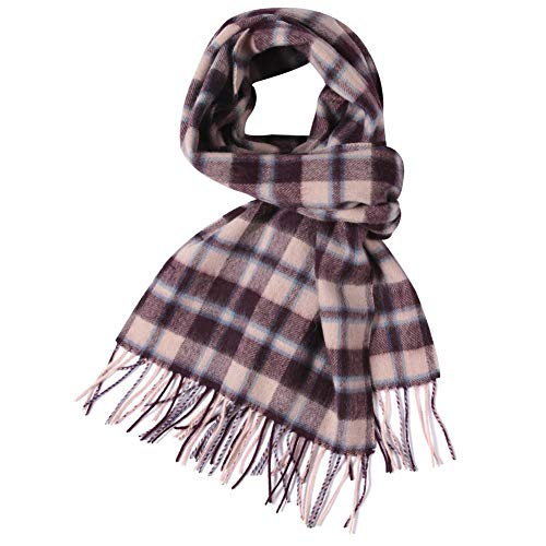 (WAMSOFT Wool Neck Scarf, Women Men Super Soft Luxury Winter Warm Fringe Scarf Scottish Plaid Design Premium Long Scarves, Brick Red)