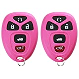 KeylessOption Keyless Entry Remote Start Control Car Key Fob Replacement for 22733524-Pink (Pack of 2)