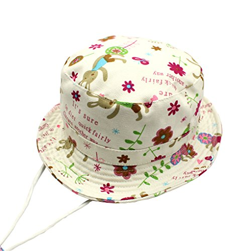 77ca85468ef4e Baby Toddler Girls Bunny Flowers Bucket Hats Ventilate Fisherman Caps  Stay-on Breathable Sun Protection Beach Wide Brim Sun Hats Bunny   Flowers  Size ...