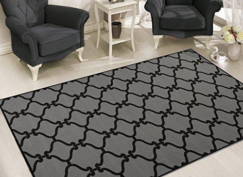Sweet Home Stores Clifton Collection Moroccan Trellis Design Felt Area Rug, Dark Grey