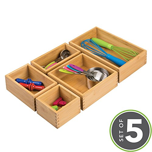 mDesign Bamboo Kitchen Drawer Organizers for Cutlery, Knives