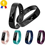 Keoker ID115 Fitness Tracker Smart Wristband, Sport Activity Monitor, Step Counter & Sleep Montior Bluetooth Smart Bracelet for IOS & Android Phone (Black)