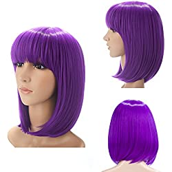 """H&N Hair Short Bob Wigs With Bangs 13"""" Straight Synthetic Colorful Cosplay Daily Party Wig For Women Natural As Real Hair + Free Wig Cap (Purple)"""