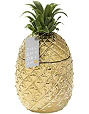 Gold Pineapple Ice Bucket with Lid, Premium addition to your Drinks Trolley   Ceramic, Retro Bar Accessory   Classy Party Decoration   Elegant Cooler   Ideal Gift for Him or Her