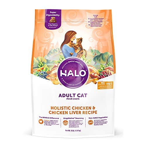 - Halo, Purely for Pets 35220 Natural Dry Cat Food, Chicken & Chicken Liver Recipe, 10 lb Bag, Brown