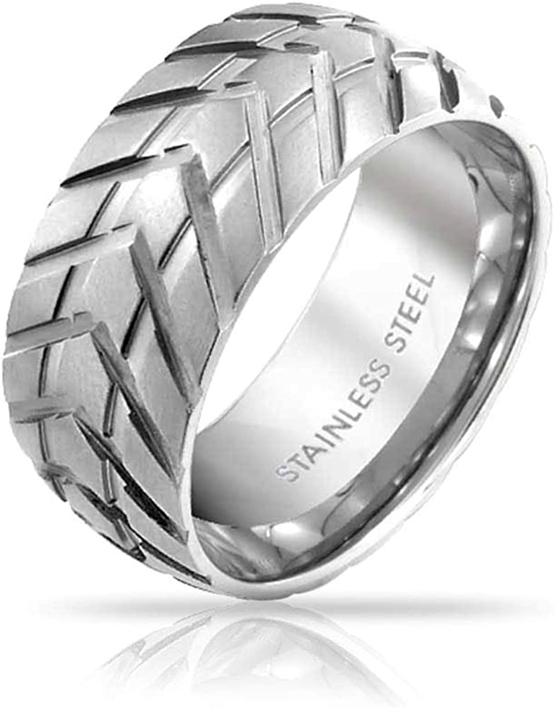 Bling Jewelry Mens Mechanic Car Racer Tire Tread Band Ring for Men for Bikers Matte Brushed Silver Tone Stainless Steel 8MM