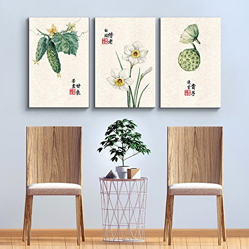 3 Panel Fauna on White Background with Chinese Writing Watercolor Art x 3 Panels