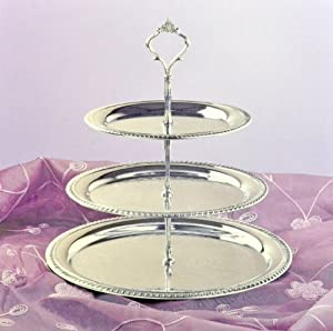 3 tier chrome plated serving tray platters. Black Bedroom Furniture Sets. Home Design Ideas