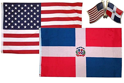 K's Novelties 2 flag set with matching Pin USA & Dominican R