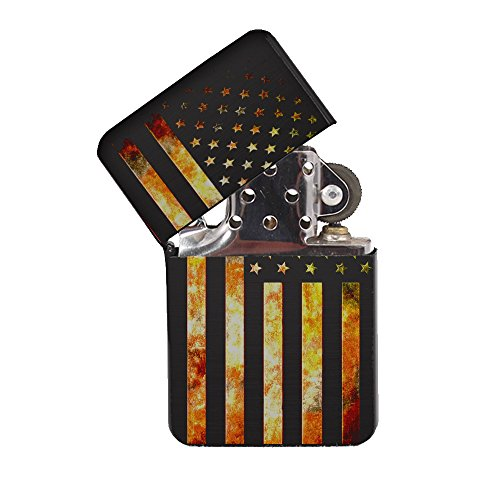 American Flag Grunge Metal - Black Lighter Windproof Flip-Top Refillable with tin Gift ()