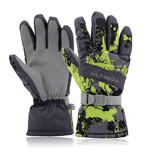 Ski Gloves,DUZCLI Winter Warm Waterproof Snow Gloves For Men,Women,BoysSki Gloves(Grey-green,M)