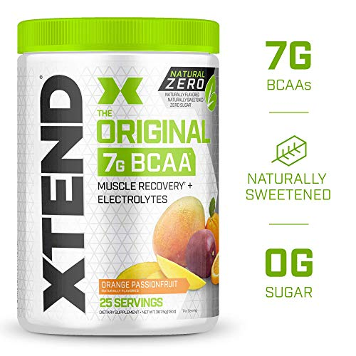 XTEND Natural Zero BCAA Powder Orange Passionfruit | Free of Artificial Sweeteners, Flavors, and Chemical Dyes | Post Workout Drink with Amino Acids | 7g BCAAs for Men & Women | 25 Servings