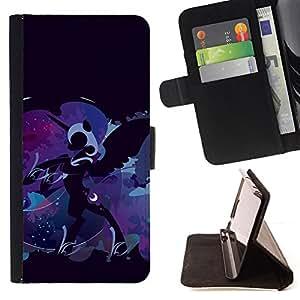 - ART DRAWING PONY FAIRYTALE BLUE UNICORN - - Prima caja de la PU billetera de cuero con ranuras para tarjetas, efectivo desmontable correa para l Funny HouseFOR HTC One M8