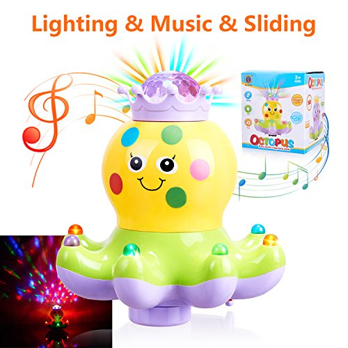 Baby Toys Musical Lights Walking Octopus Toys Lights Action Kids Music Toys for Girls and Boys Kids or Toddlers---Yellow