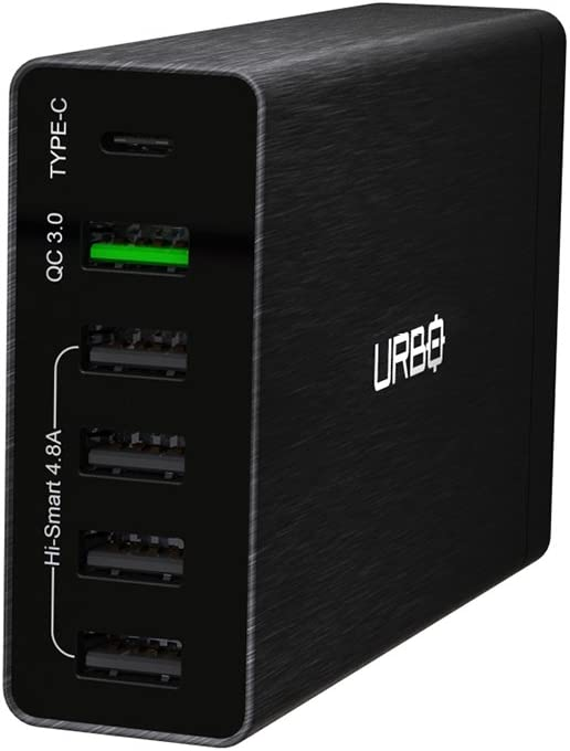 Urbo 6-Port Fast Charging USB Power Station with 2 Quick Charging Ports and 4 Smart Ports for Multiplying Wall Sockets Everywhere and to Charge Phones Tablets and Other USB-Powered Devices