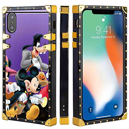 Square Phone Shell Case Compatible with Apple iPhone X (2017) or iPhone Xs (2018) or iPhone 10 (2017) 5.8in Halloween Mickey Mouse and Minnie Mouse Goofy Donald Duck Pluto Disney Halloween Wallpaper]()