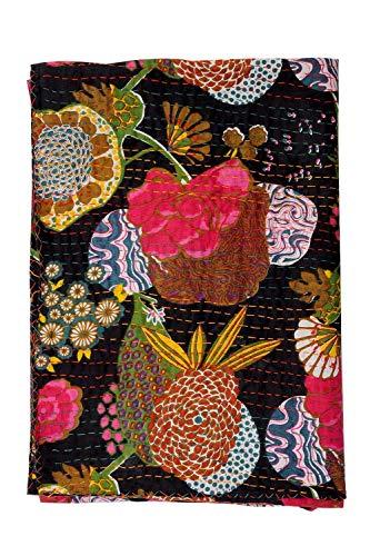 Traditioanl India Kntha Bedspread, Bohemian Bedding Kantha,fruit Print Kantha Quilt , Kantha Blanket, Bed Cover 60x90
