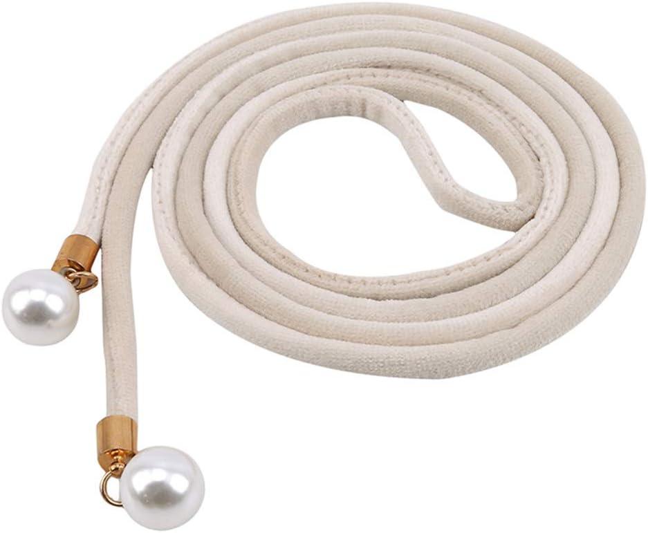GloryMM Vintage Pearl Waist Rope Fringed Waistband Girdle for Dress Women Knot Belt,Beige
