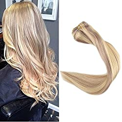 """Full Shine 14"""" 9 Pieces Brazilian Clip in Full Head Set Color #18 and 613 Blonde Highlight Clip in 100 Human Hair Extensions Double Weft Clip in Extensions 120Gram With Clips on"""