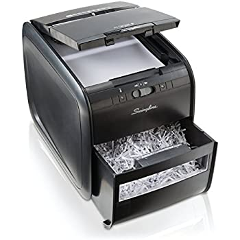 Swingline Auto Feed Paper Shredder, 60 Sheets, Cross-Cut, 1 User, Stack-and-Shred 60X, Black (1757572)