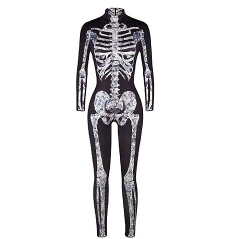 Amazon.com: Disfraz de esqueleto de Halloween con estampado ...