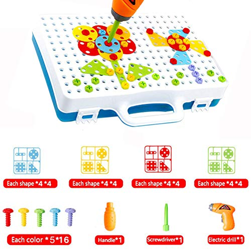 SANSIRP Kids Creative Drilling Toy with Screwdriver Tool Playset Screw Puzzle Learning Toys Building Blocks DIY Design Tool Sets for Childs 3-10 Ages Boys and Girls (144 Pieces)