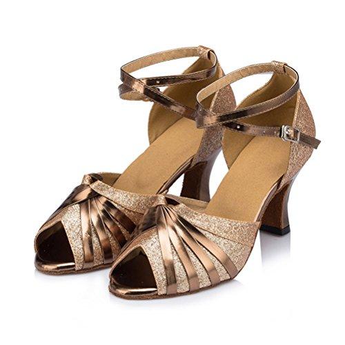 Misu Womens Sandali Peep Toe Latino Salsa Tango Pratica Scarpe Da Ballo Da Ballo Con 2,7 Tacco Oro