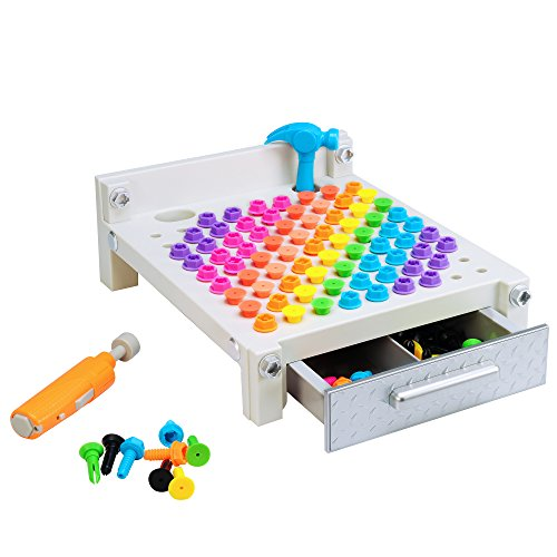 Gray Design & Drill Gray My First Workbench: Over 160 Pieces—Preschool Drill Toy ()