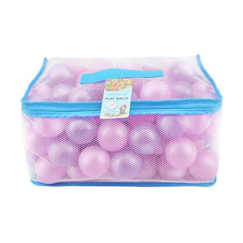 Lightaling 100pcs Pink & Purple Ocean Balls & Pit Balls Soft Plastic Phthalate & BPA Free Crush Proof - Reusable and Durable Storage Mesh Bag with Zipper by Lightaling