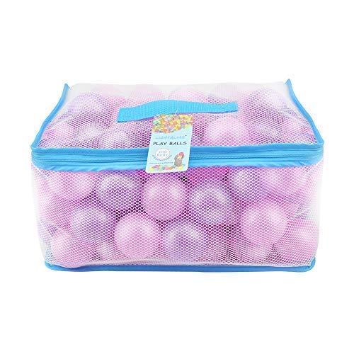 Lightaling 100pcs Pink & Purple Ocean Balls & Pit Balls Soft Plastic Phthalate & BPA Free Crush Proof - Reusable and Durable Storage Mesh Bag with Zipper