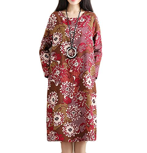 Womens Length Baggy Pattern9 Linen Tribal Printed Oversized Mid Comfy Dresses FAZdq44